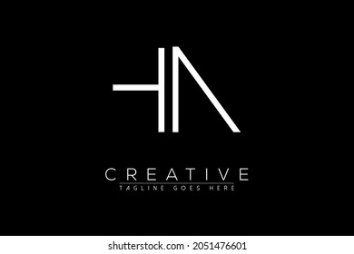 Initial hn, nh, n, h minimal monogram vector logo for business restaurant spa beauty saloon technology
