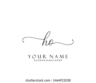 Initial HO beauty monogram and elegant logo design, handwriting logo of initial signature, wedding, fashion, floral and botanical with creative template.