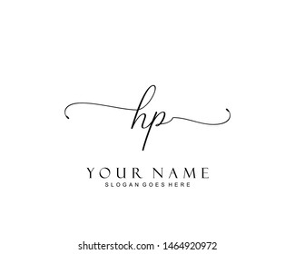 Initial HP beauty monogram and elegant logo design, handwriting logo of initial signature, wedding, fashion, floral and botanical with creative template.