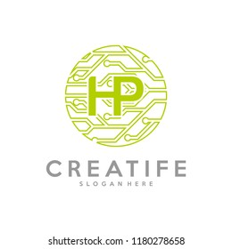 Initial HP logo concepts template vector. Data technology concepts.