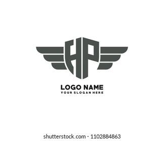 Initial HP wing logo template vector