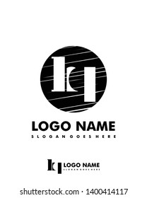 Initial HQ negative space logo with circle template