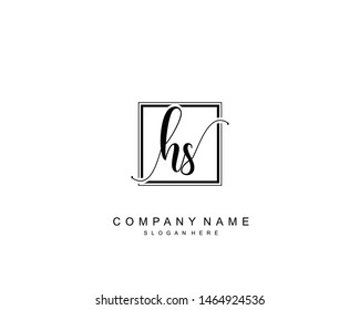Initial HS beauty monogram and elegant logo design, handwriting logo of initial signature, wedding, fashion, floral and botanical with creative template.