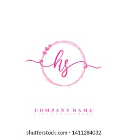 Initial HS handwriting logo template vector
