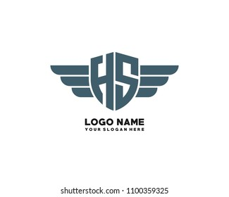 Initial HS wing logo template vector