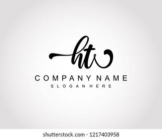 Initial HT handwriting logo vector