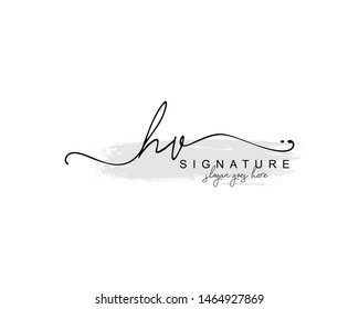Initial HV beauty monogram and elegant logo design, handwriting logo of initial signature, wedding, fashion, floral and botanical with creative template.