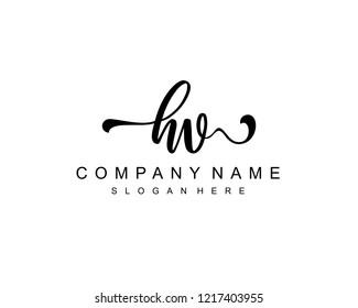 Initial HV handwriting logo vector