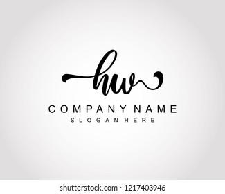 Initial HW handwriting logo vector