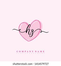 Initial HZ handwriting logo template vector