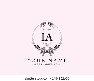 Initial IA beauty monogram and elegant logo design, handwriting logo of initial signature, wedding, fashion, floral and botanical with creative template.