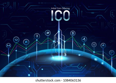 Initial ICO coin offering concept illustration. Digital money system banner. ICO promotion with coins signs , Graph,  invest on another coin.