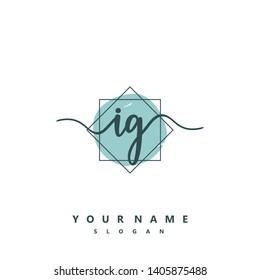 Initial IG handwriting logo template vector