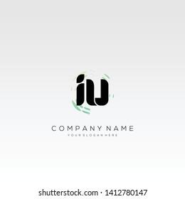 Initial IU abstract logo design vector.