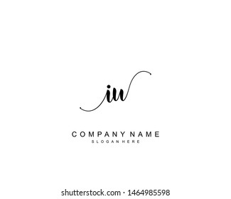 Initial IU beauty monogram and elegant logo design, handwriting logo of initial signature, wedding, fashion, floral and botanical with creative template.