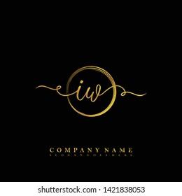 Initial IW handwriting beauty logo template vector