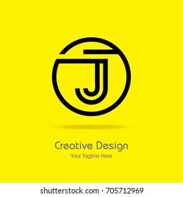 Initial J Circle Framed Letter Logo Design Vector with Black and Yellow Colors