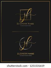 Initial J F JF handwriting logo vector. Letter handwritten logo template.