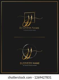 Initial J J JJ handwriting logo vector. Letter handwritten logo template.