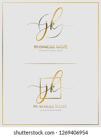 Initial J K JK handwriting logo vector. Letter handwritten logo template.