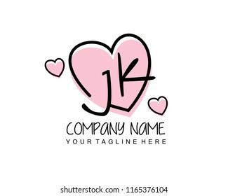 Initial J K with love logo template vector
