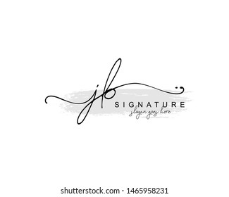 Initial JB beauty monogram and elegant logo design, handwriting logo of initial signature, wedding, fashion, floral and botanical with creative template.