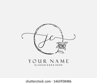 Initial JC beauty monogram and elegant logo design, handwriting logo of initial signature, wedding, fashion, floral and botanical with creative template.