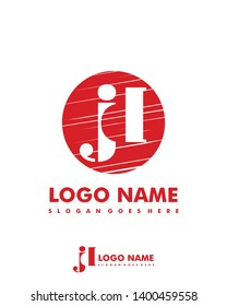 Initial JD negative space logo with circle template