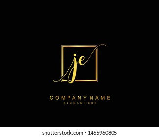 Initial JE beauty monogram and elegant logo design, handwriting logo of initial signature, wedding, fashion, floral and botanical with creative template.