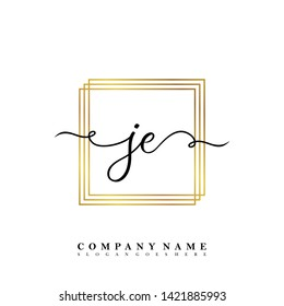 Initial JE handwriting beauty logo template vector