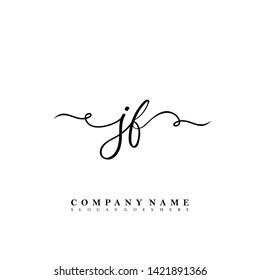 Initial JF handwriting beauty logo template vector