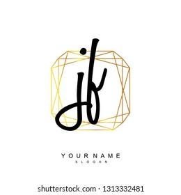 Initial JF handwriting logo vector