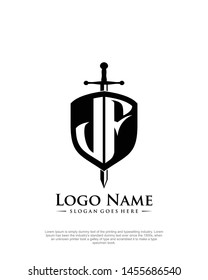 initial JF letter with shield style logo template vector