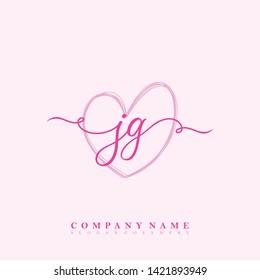 Initial JG handwriting beauty logo template vector