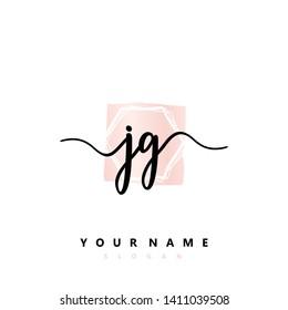 Initial JG handwriting logo template vector