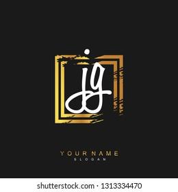 Initial JG handwriting logo vector