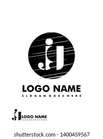 Initial JG negative space logo with circle template