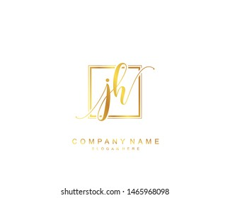 Initial JH beauty monogram and elegant logo design, handwriting logo of initial signature, wedding, fashion, floral and botanical with creative template.