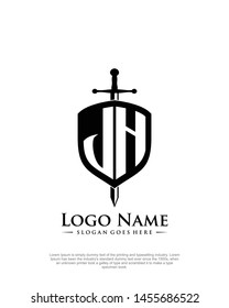 initial JH letter with shield style logo template vector
