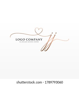 Initial JJ  beauty monogram and elegant logo design, handwriting logo of initial signature, wedding, fashion, floral and botanical with creative template.