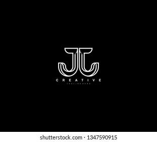Initial JJ Letter Modern Creative Linear Monochromatic Logo