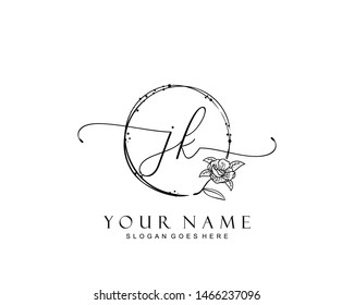Initial JK beauty monogram and elegant logo design, handwriting logo of initial signature, wedding, fashion, floral and botanical with creative template.