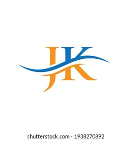 Initial JK letter logo with creative modern business typography vector template. Creative abstract letter JK logo design