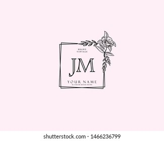 Initial JM beauty monogram and elegant logo design, handwriting logo of initial signature, wedding, fashion, floral and botanical with creative template.