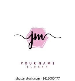 Initial JM handwriting logo template vector