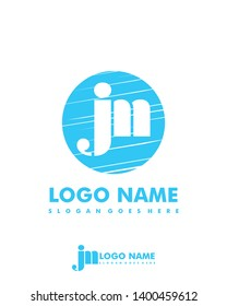 Initial JM negative space logo with circle template