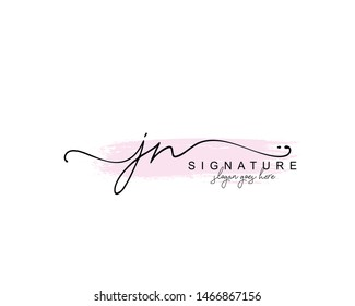 Initial JN beauty monogram and elegant logo design, handwriting logo of initial signature, wedding, fashion, floral and botanical with creative template.