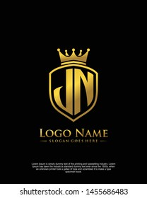 initial JN letter with shield style logo template vector