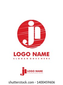 Initial JN negative space logo with circle template