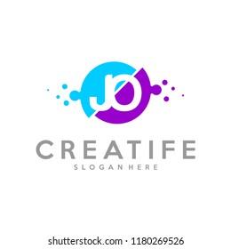 Initial JO logo concepts template vector